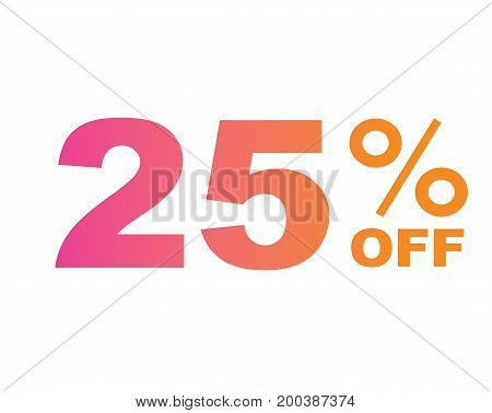 Gradient Pink To Orange Twenty-five Percent Off Special Discount Word Text