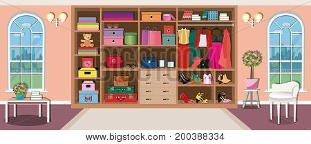 Spacious cute wardrobe room interior design with large windows and comfortable furniture. Big modern closet for women. Fashion clothes and stylish accessories. Flat style vector illustration.