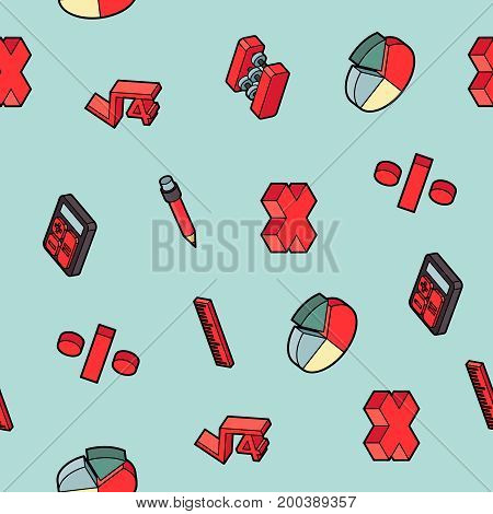 Algebra color outline isometric pattern . Mathematical science. Education and scientific icons set.