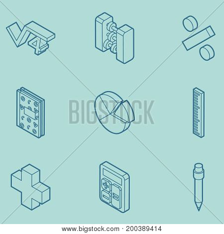 Algebra color outline isometric icons . Mathematical science. Education and scientific icons set.