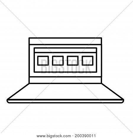 line laptop with business virtual document information vector illustration
