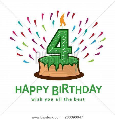 playful birthday illustration, cake with number four, illustration design, isolated on white background