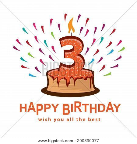 playful  birthday illustration, cake with number three, illustration design, isolated on white background