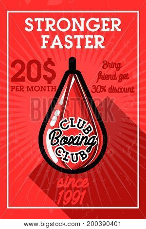 Color vintage boxing club banner. Boxing related design elements for prints, logos, posters. Vector vintage illustration.