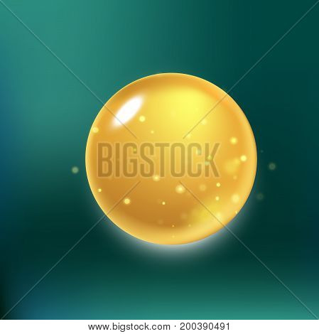 Glitter collagen drop, oil drop with effects isolated on green background. Vector illustration.