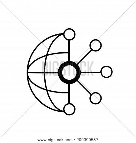 line circuit global data technology to center server vector illustration