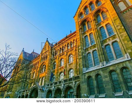Budapest, Hungary - January 3, 2015: Old facade of historical house in Buda Castle district. Buda Castle is the historical palace complex of the Hungarian kings, was first completed in 1265.