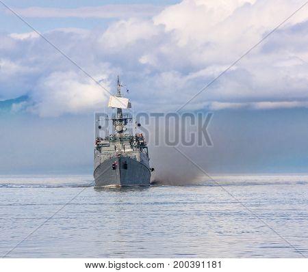 Russian warship going along the coast of Kamchatka