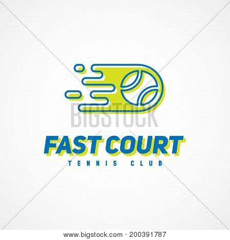 Logo template design for tennis club with offset color effect. Vector illustration.