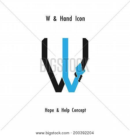 Creative W- alphabet icon abstract and hands icon design vector template.Business offerpartnershiphopesupport or help concept.Corporate business and industrial logotype symbol.Vector illustration