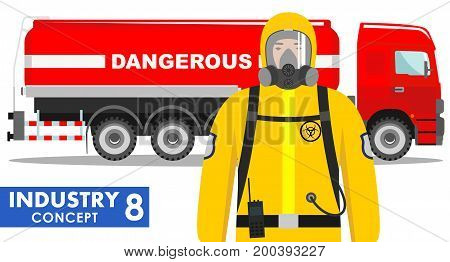 Detailed illustration of cistern truck carrying chemical, radioactive, toxic, hazardous substances and worker in protective suit on white background in flat style.