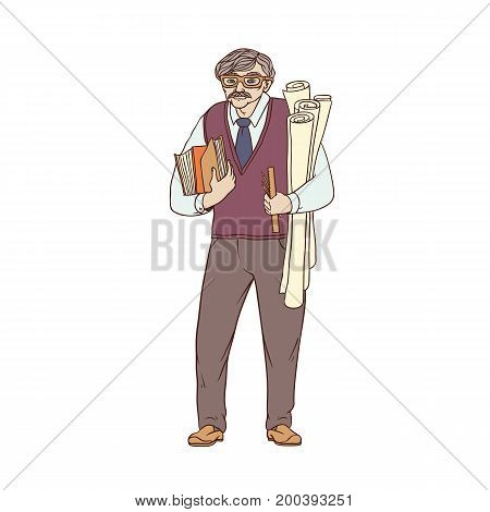 Older male pedagogue, professor or designer of books and drawings in his hands. A worker of the sphere of science and education. People of professions. Vector colored sketch of realistic illustration