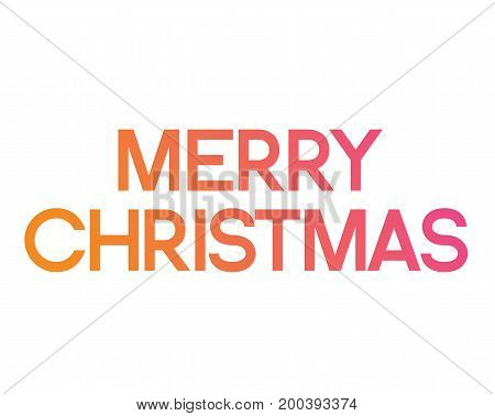 The Gradient pink to orange serif front word Merry Christmas