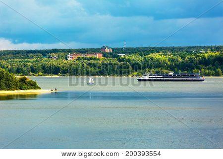 The river Berd Berd Bay Novosibirsk oblast Siberia Russia - August 19 2017: the Ship