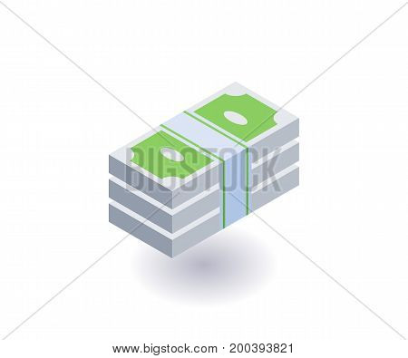 Bundle of money icon vector symbol in flat isometric 3D style isolated on white background.