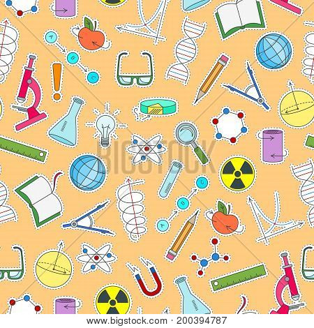 Seamless pattern on the theme of science and inventions diagrams charts and equipment simple patch icons on orange background