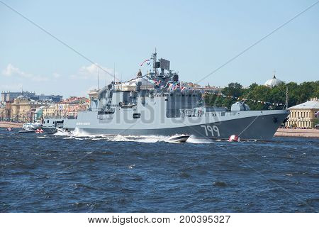 SAINT-PETERSBURG, RUSSIA - JULY 30, 2017: A new frigate of the Black Sea Fleet