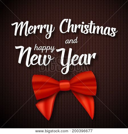Illustration of Vector Merry Christmas Greeting Card. Realistic Red Ribbon with Merry Christmas and Happy New Year Paper Lettering