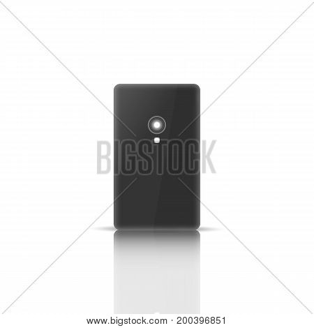 Photorealistic mobile phone with a mirror reflection isolated on white background. Back side. Element for design of digital devices vector illustration.