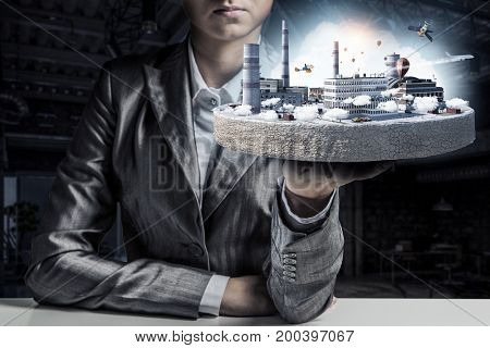 Concept of industrial construction. Mixed media