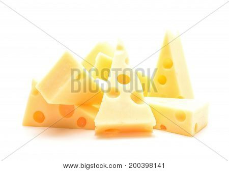 Cheese isolated on white background in studio