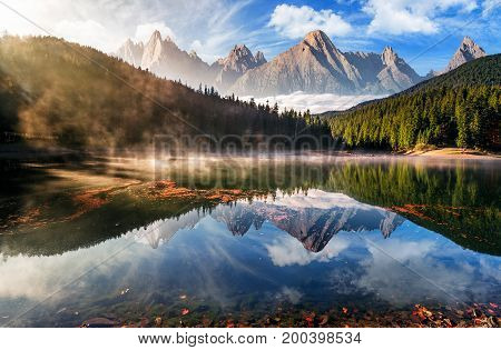 Gorgeous Mountain Lake In Autumn Fog