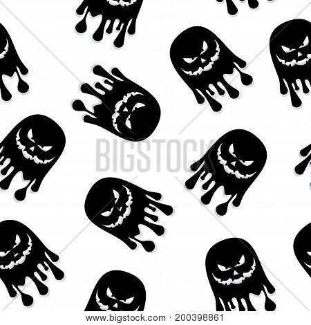 Seamless Pattern Ghost Black