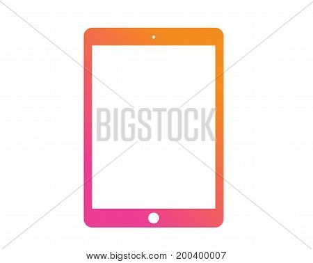 The vector Colorful gradient pink to orange flat tablet computer icon