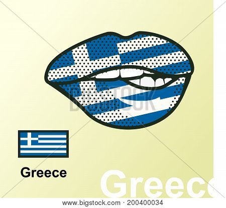 Vector illustration of lip painted Greece flag isolated foreign language national symbols