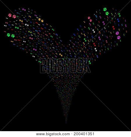 Paw Footprints fireworks stream. Vector illustration style is flat bright multicolored iconic paw footprints symbols on a black background. Object fountain combined from random pictograms.