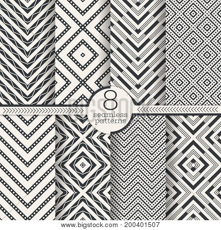 Set of vector seamless patterns. Modern stylish geometric textures. Infinitely repeating geometrical ornaments with rhombus diamond zigzag and wave shapes. Traditional tiles.