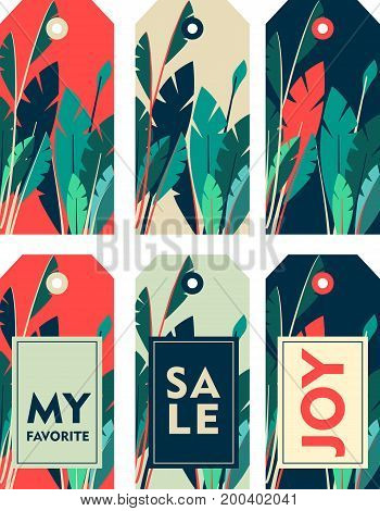 Vector illustration set of tags price tags for sales purchases and stores template for typography