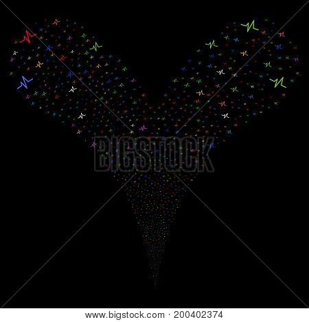 Pulse fireworks stream. Vector illustration style is flat bright multicolored iconic pulse symbols on a black background. Object fountain organized from random pictograms.
