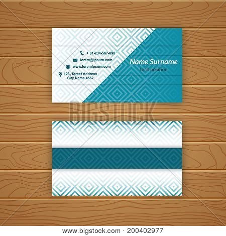 Business card blank template with textured background from rhombus tiles. Minimal elegant vector design