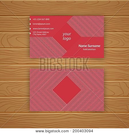 Business card blank template with textured background from thin lines. Minimal elegant vector design