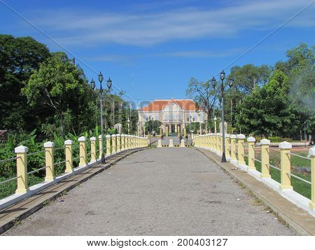 Fench Colonial architecture bridge and governor mansion in Battambang Cambodia