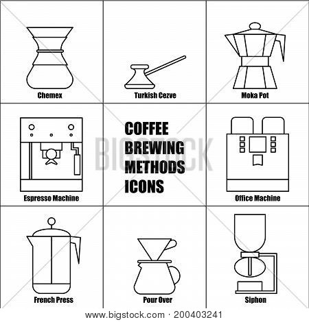 Coffee Brewing Methods Vector Thin Line Icon Set: French Press Moka Pot Espresso and Office Machine Pour Over Coffeemaker Percolator Automatic Drip Turkish Cezve Ceramic Dripper Chemex.