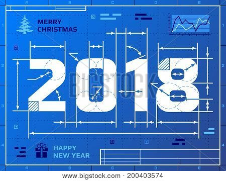 Card of New Year 2018 as blueprint drawing. Stylized drafting of 2018 on blueprint paper. Vector illustration for new years day christmas winter holiday new years eve engineering silvester etc