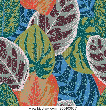 Abstract Vintage Composition Colorful Leaves Seamless Floral Pattern Background Beach Wallpaper