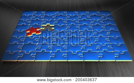 3D Illustration. Blue puzzle pieces with one pieces that is red