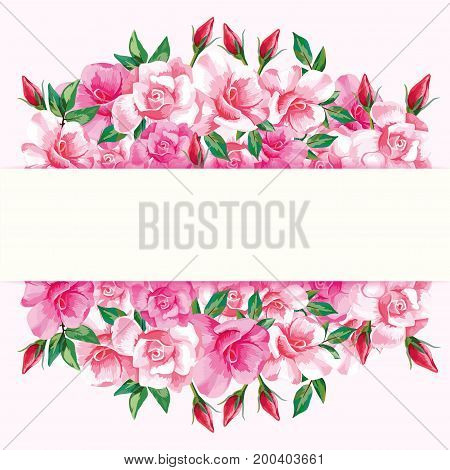 Vintage horizontal greeting frame with pink roses on a light background. Vector floral decorative gift or wedding card.