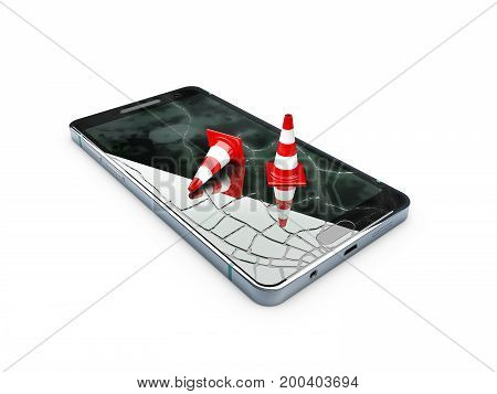 Broken Mobile Phone, Repair Phone Concept, 3D Illustration Isolated White
