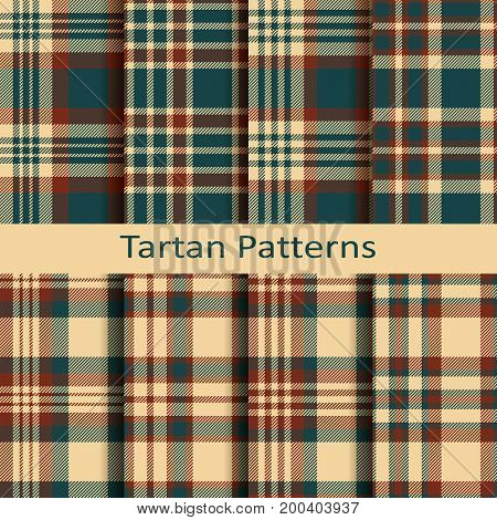 set of ten seamless vector tartan patterns. design for packaging, cloths, covers with modern coloring