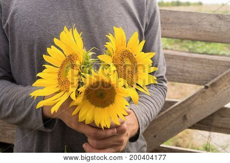 Man in grey turtleneck holds three sunflowers in his arms