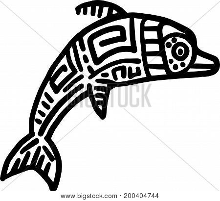 Mayan art animals vector. Leaping Dolphin. EPS 10