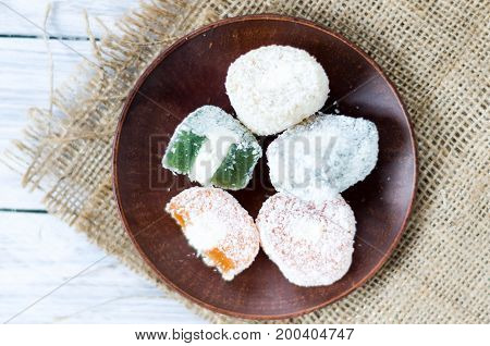 Rakhat-lukum Colored On A Clay Plate. Turkish Delight. Eastern Sweets.