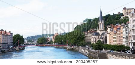 The River Rhone and Eglise St. Georges , Lyon