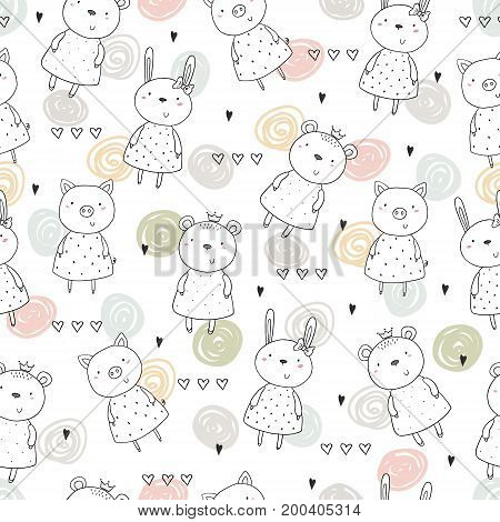 Seamless pattern with cute animal. vector illustration.