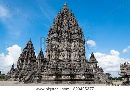 Prambanan temple (Candi Rara Jonggrang) is an hindu temple compound with sunny and cloudy day in Central Java Indonesia. (UNESCO World Heritage Site)