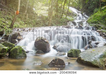 Deep Forest Waterfall National Park In Lampang Thailand